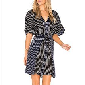 NWT Diane Von F V Neck Tie Larson Midnight Dress